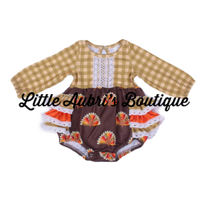 Gingham Turkey Long Sleeve Ruffle Lace Romper