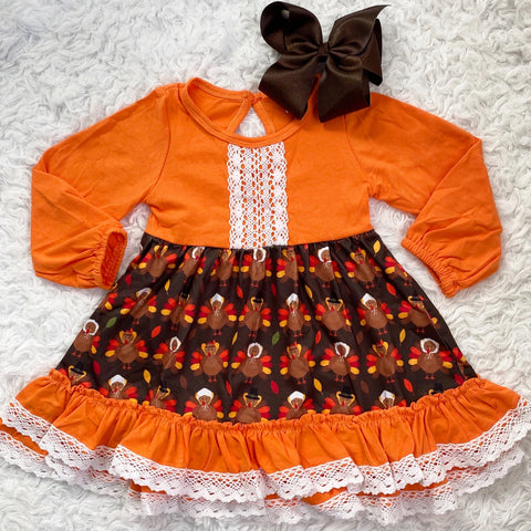 Thanksgiving Day Ruffle Lace Dress
