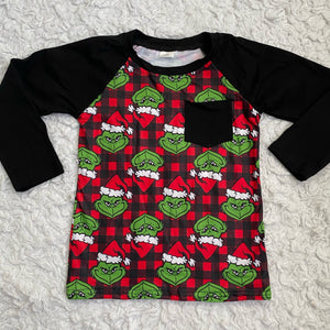 Buffalo Grinch Long Sleeve Pocket Raglan