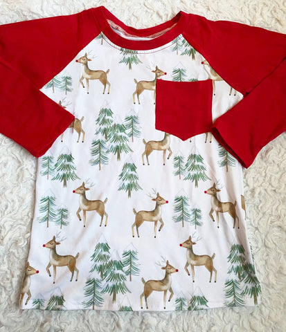 Reindeer Long Sleeve Pocket Raglan