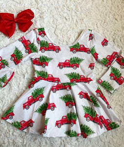 Red Christmas Trucks Long Sleeve Peplum