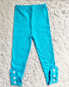 Ice Blue Button Ruffle Leggings