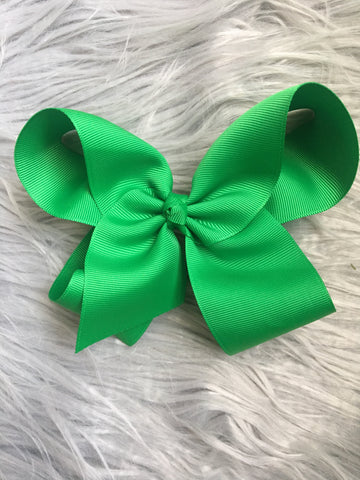 Green 6 in. Ribbon Bow on Alligator Clip