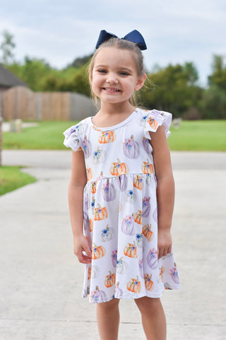 Boho Pumpkins Flutter Sleeve Twirl Dress