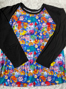 Blue Pokémon Long Sleeve Mommy Raglan (Size Down)