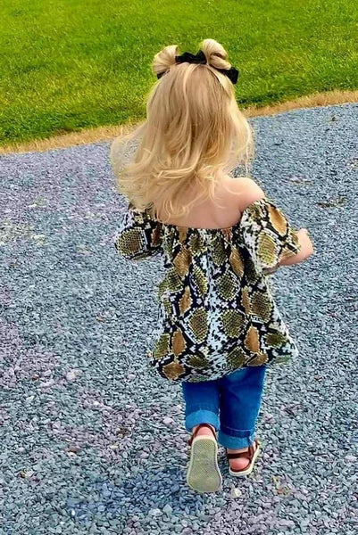 Snakeskin Off Shoulder Tunic Top