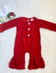 Red Lace Ruffle Romper
