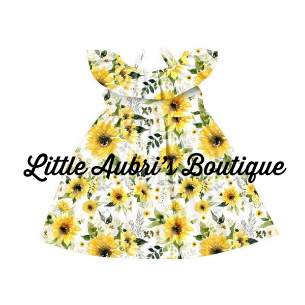 Off Shoulder Sunflower Dress