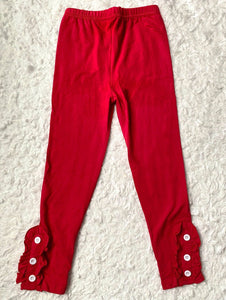 Red Button Ruffle Leggings