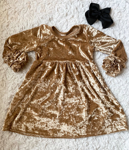 Gold Crushed Velvet Long Sleeve Icing Dress