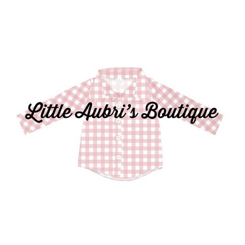 Pink Winter Buffalo Button Down Shirt