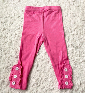 Pink Button Ruffle Leggings