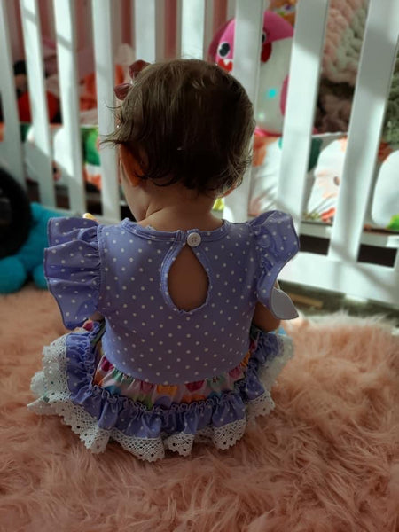 Candy Hearts Ruffle Lace Bubble Romper