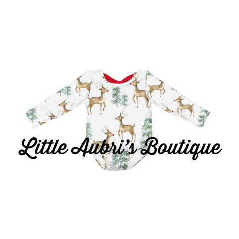 PREORDER Reindeer Bow Back Long Sleeve Leotard CLOSES 9/18
