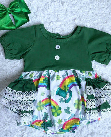 Rainbows and Leprechauns Lace Bubble Romper