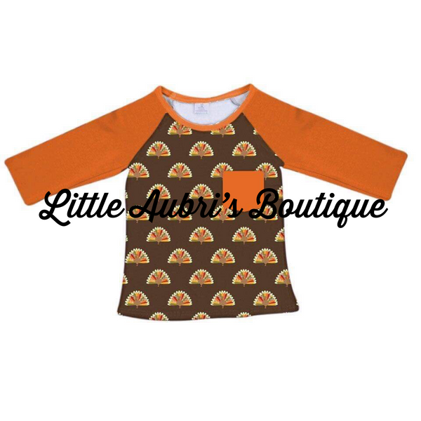 Gingham Turkey Long Sleeve Pocket Raglan