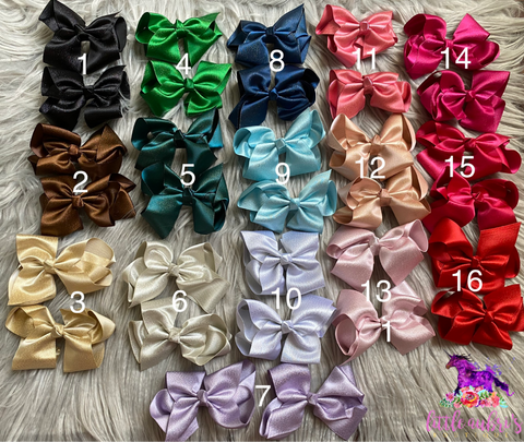 4.5 in. Piggy Set Shimmer Bows (Set of 2)