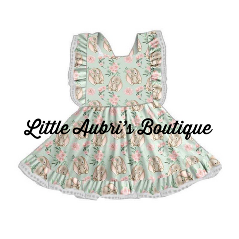PREORDER Floral Bunny Pinafore Dress