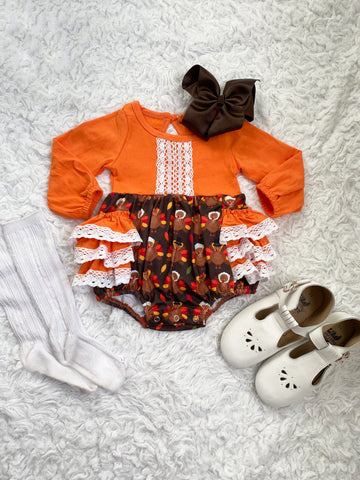 Thanksgiving Day Lace Ruffle Romper