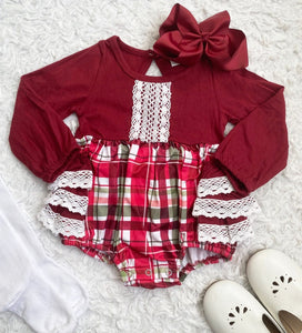 Christmas Plaid Ruffle Lace Romper