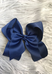 Navy Blue 6 in. Ribbon Bow on Alligator Clip