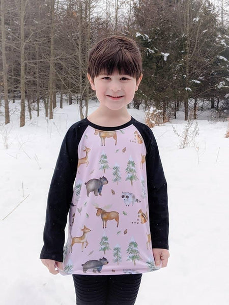 Pink Woodland Animals Raglan