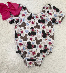 Leopard Pumpkin Mouse Short Sleeve Leotard