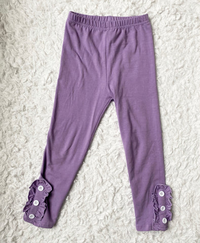 Purple Ruffle Button Leggings