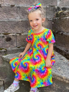 Tie Dye Cross Back Twirl Dress