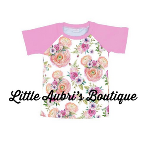 Floral Mouse Mommy Raglan (Size Down)