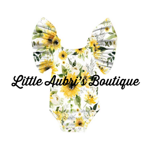 Flutter Sleeve Sunflower Leotard