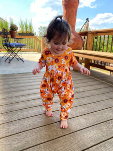 Sunflower Pumpkins Harem Pants Romper