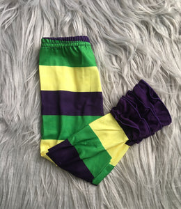 Mardi Gras Striped Ruffle Full Length Leggings