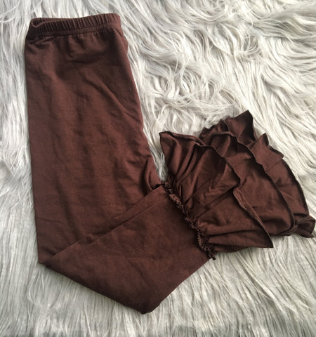 Chocolate Brown Ruffle Leggings (6Y Only)