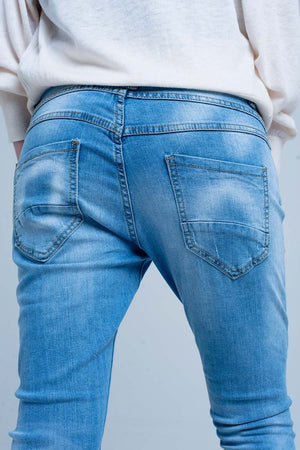 Blue Slashed Boyfriend Jeans - NYCultures