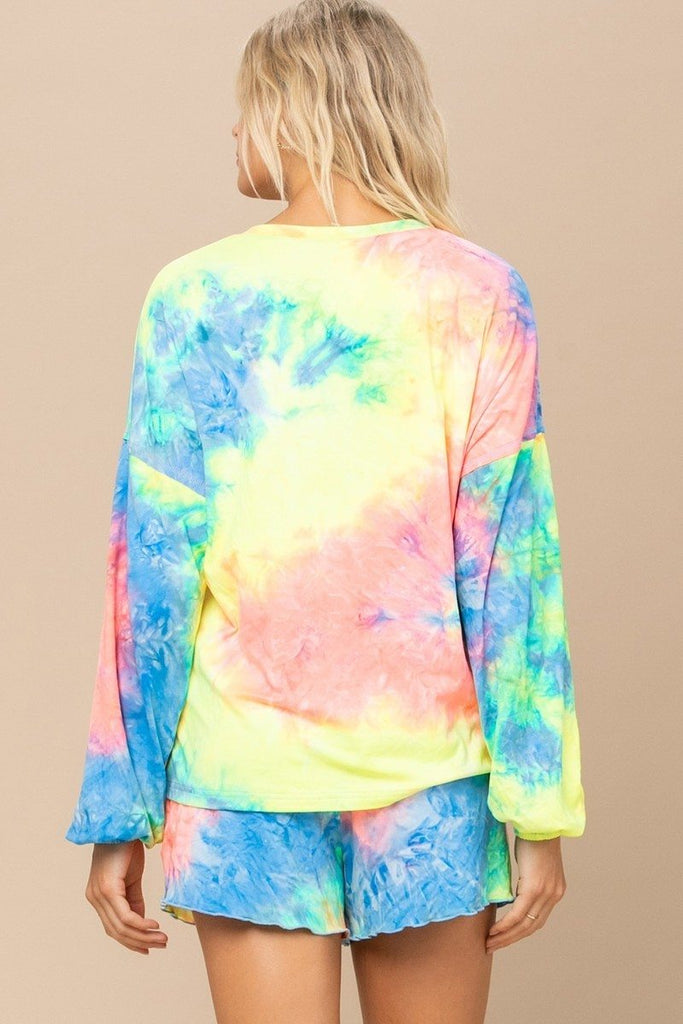 Tie-dye Printed Knit Top And Shorts Set - NYCultures