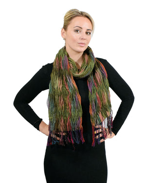 Ladies Two Tone Bubble Scarf  Elastic Fabric Winter Elasticated Warm Scarves