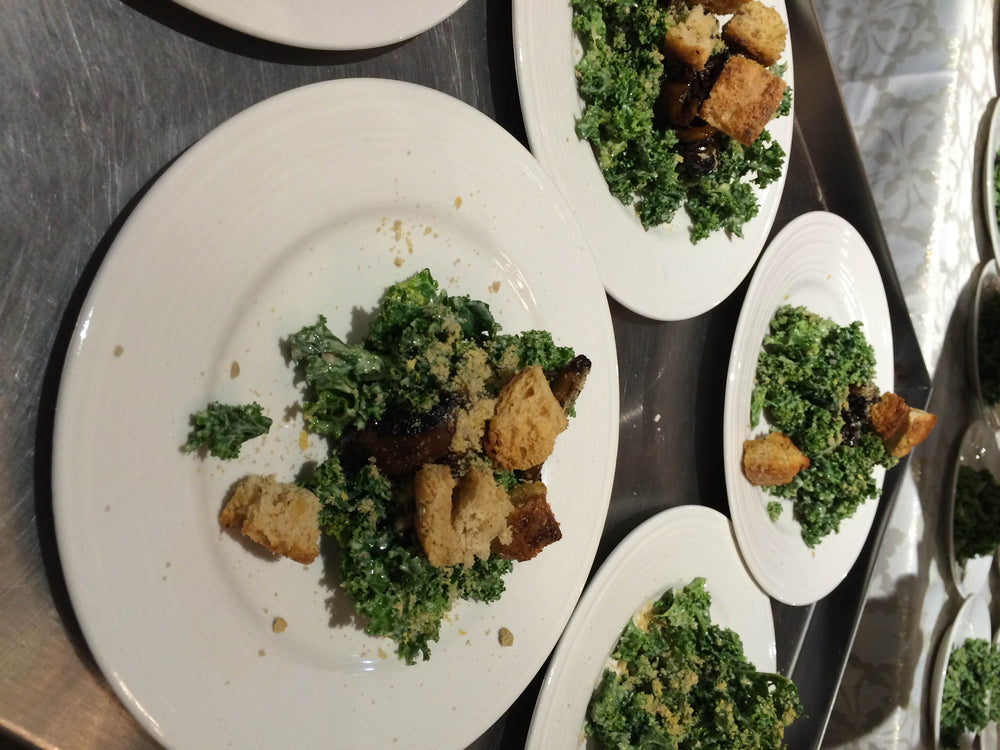 Kale Caesar with Bakun Crumble and Sunflower Seed Parm