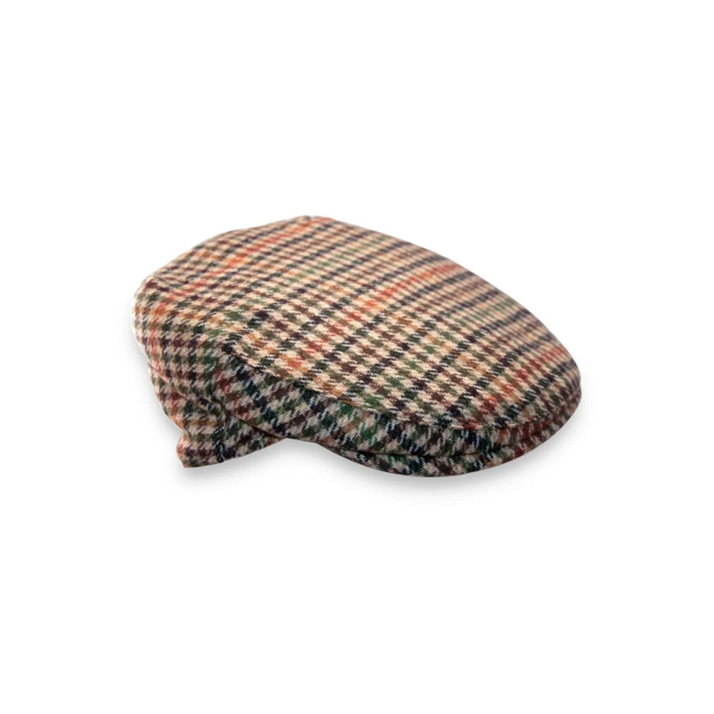 Green / Brown Checked Flat Cap