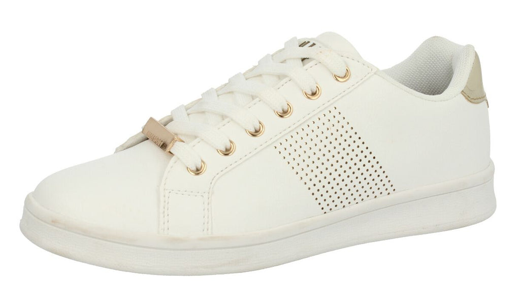 Ladies ELLE Sport Flat lace Up Trainer with Metal Lace Tab