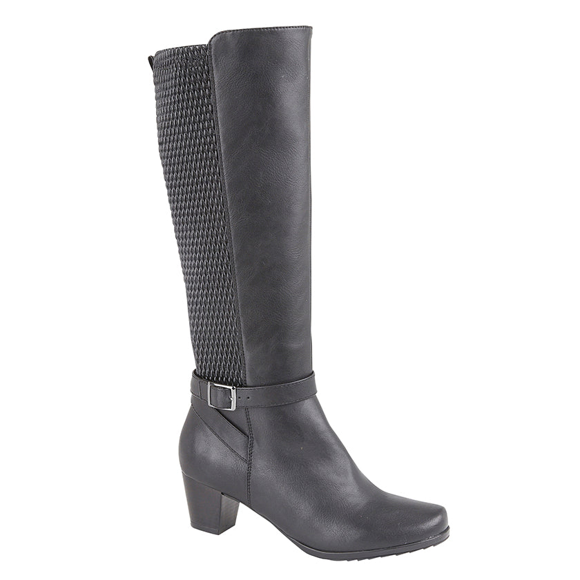 "Ladies Cipriata ""Sara"" Elasticated Calf PU Upper High Leg Boot"