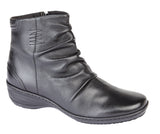 "Ladies Black  Leather ""Mod Comfys"" Softie Ankle Boot"