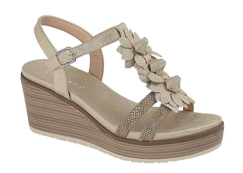 "Ladies Cipriata ""Nina"" Flower Bar High Wedge Sandal"