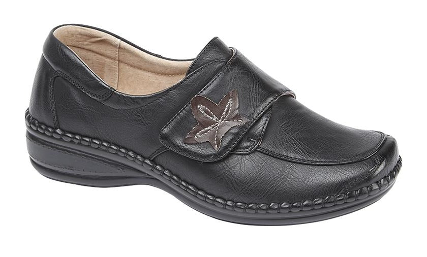 Boulevard Wide EEE Black Leather Shoe