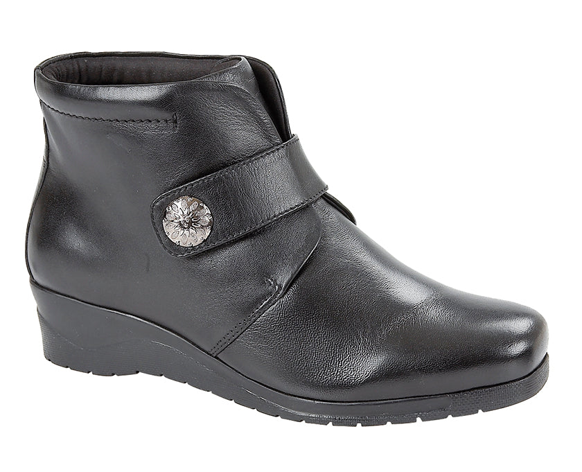 Ladies Black Softie Leather Ankle Boot