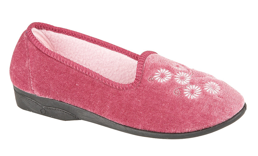"Ladies Heather Velour Slipper ""Cathy"""