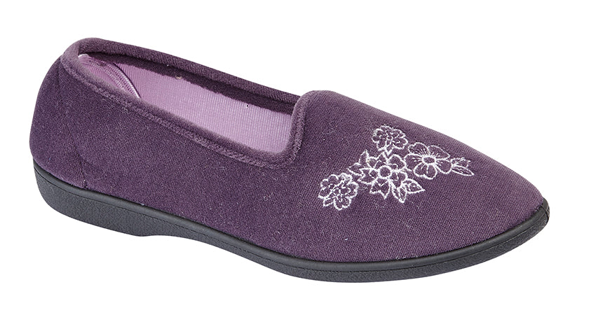 "Ladies Black  or Purple Velour Slipper ""Heather"""