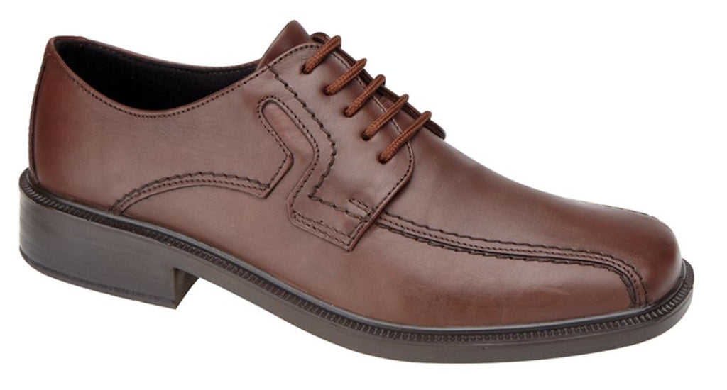 Mens WalkAir Antique Brown Leather Shoe