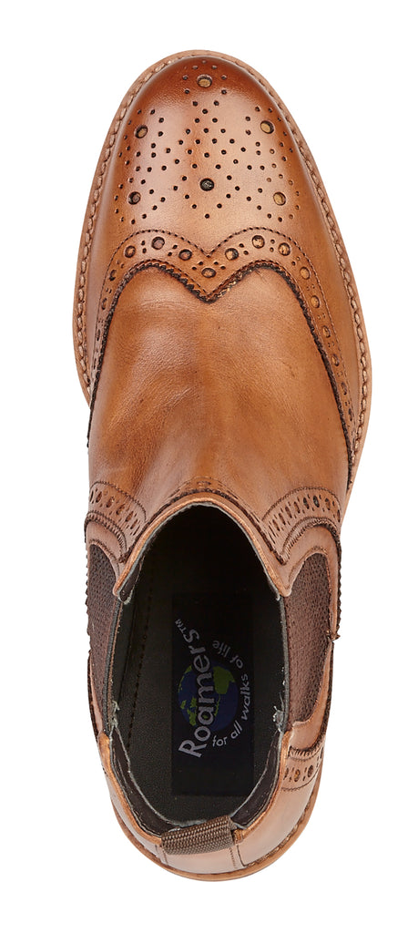 Mens Roamers Tan Leather Brogue Boot