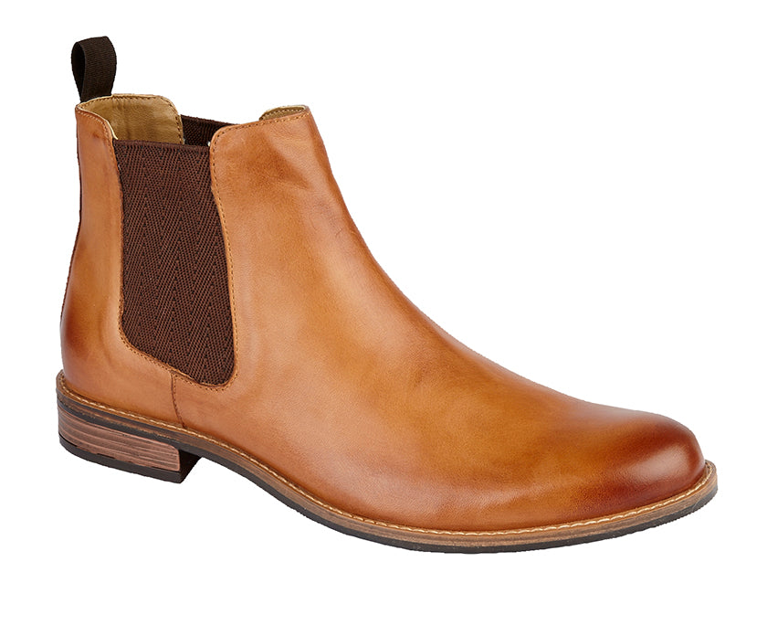 Roamers Tan Leather Twin Gusset Ankle Boot